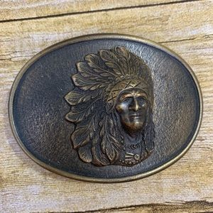 Vintage Chief Head Belt Buckle